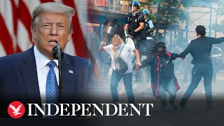 Police tear gas peaceful protesters during Trump speech