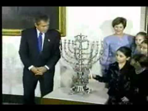 For The First Time In US History George Bush Lights A Menorah In The White House - 2001