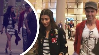 Pooja Hegde Hot In Short Dress With Hrithik Roshan At Airport !!