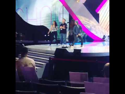 Darren Criss & Lucy Hale twerking during the Teen Choice Awards rehearsals