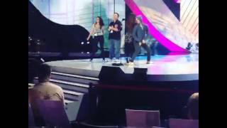 Darren Criss & Lucy Hale twerking during the Teen Choice Awards rehearsals