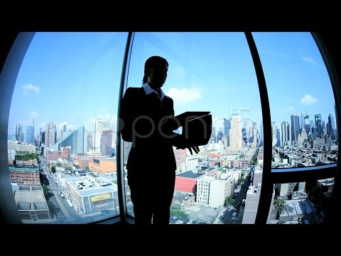 Young Female Caucasian Finance Manager Working On Touch Screen In Manhattan . Stock Footage