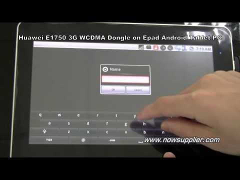 Huawei E1750 3G WCDMA Dongle on Epad Android Tablet PC