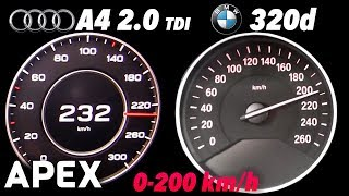 2017 Audi A4 2.0 TDI vs. BMW 320d - Acceleration Sound 0-100, 0-200 km/h | APEX