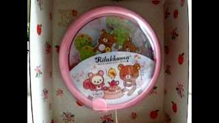 San-X Rilakkuma Relax Bear Musical Baby Crib Pull Toy Rotating Picture Music Box