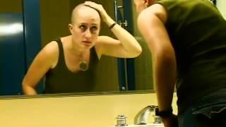 beautiful women self head shave in sink