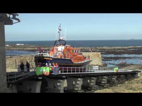 RNLI Lifeboat Sennen Cove slipway launch trials