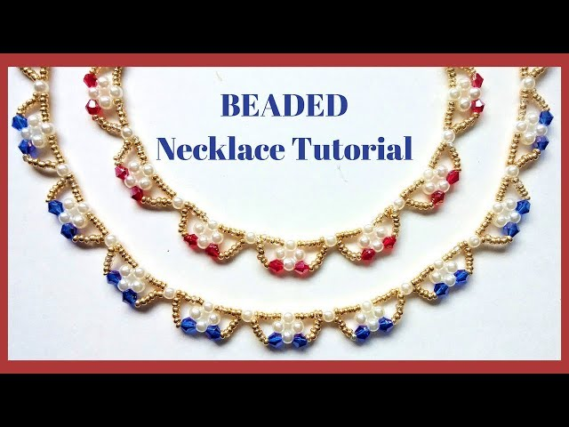 Beading jewelry tutorial. How to make beaded necklace