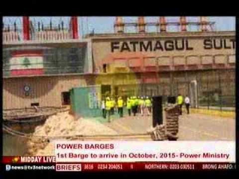 MiddayLive - 1st Power Barge to arrive in October,2015 -  Power Ministry - 2/9/2015