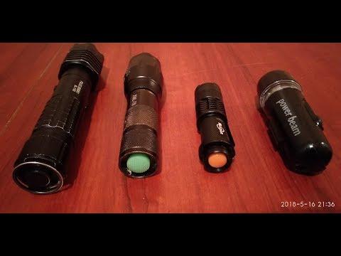 Сравнение фонариков на светодиоде  Т6  Q5  и другие