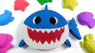 Kinetic Sand Baby Shark with Pinkfong Song for Children - Learn Colors with Toys