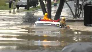 Fire Truck Drives In Flood