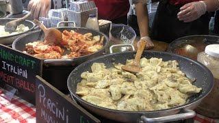 London Street Food. Italian Pasta, Meatballs, Mushrooms Tomato and Pesto Sauces Seen in Brick Lane