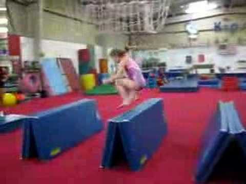 jumping over mats - melanie's fall