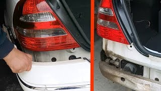 Removing rear bumper on Mercedes W211 / How to remove the rear bumper for Mercedes W211