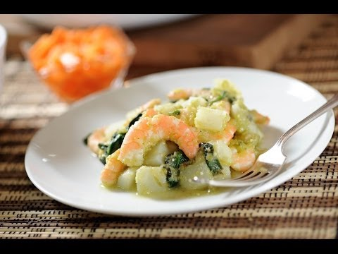 Camarones con espinacas y papas - Recetas de cuaresma - Shrimp with chard - Como cocinar