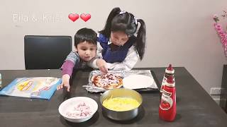 Eila & Krish making pizzas ❤