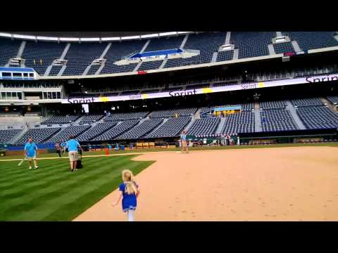 Running the bases at Kaufman Stadium in Kansas City at the KC Royals /Toronto Blue Jays Game!