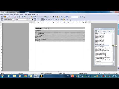 Inhaltsverzeichnis OpenOffice