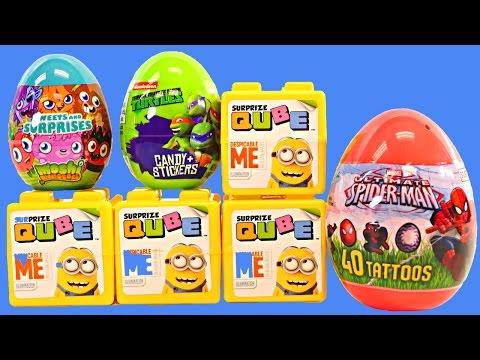 New Surprize Cubes Despicable Me Qube Spiderman Teenage Mutant Ninja Turtles Surprise Eggs Dctc Toys video
