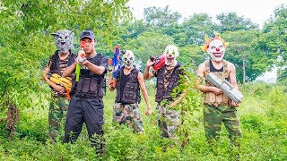 MASK Nerf War : Special Warrior Nerf Guns Fight Leader Criminal Group Mask Monter