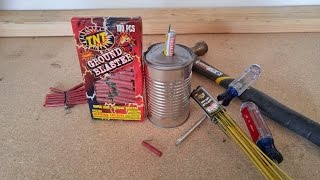 Building a Soup Can Rocket with Fire Crackers! AWESOME EXPLOSION!