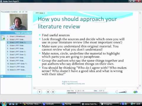 How to write a literature review Part 1