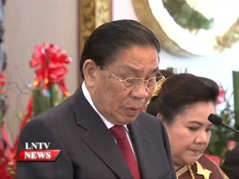 Lao NEWS on LNTV: President Choummaly takes stock of development success.2/12/2014