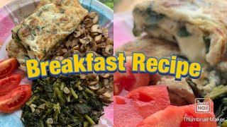Spinach and Mushroom omelette | 10 minutes or Less Healthy Breakfast Idea
