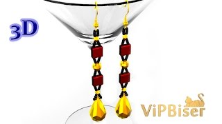 Beaded Long Earrings. 3D Beading Tutorial