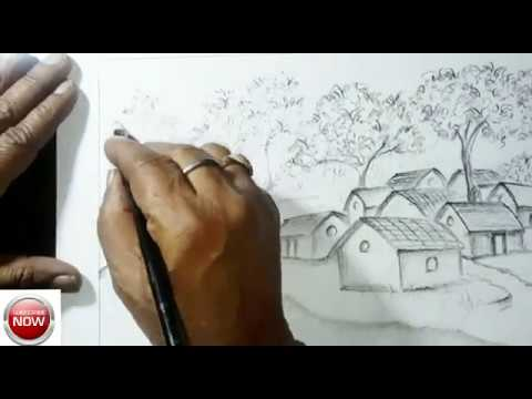 How to draw beautiful village scenery by pencil? Step by step. Art No. 01