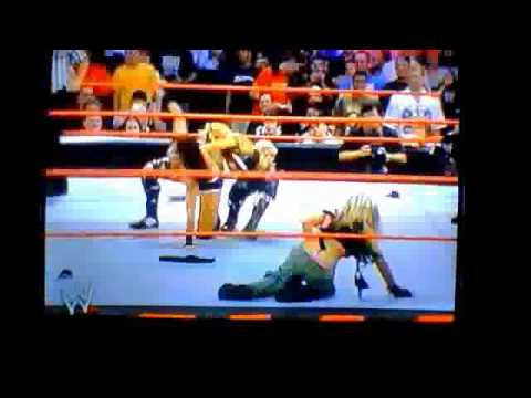 WWE Victoria Depantsed By Trish Stratus Thong!