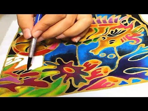 Batik Painting - How to Paint Seahorse with Batik Felt Frame