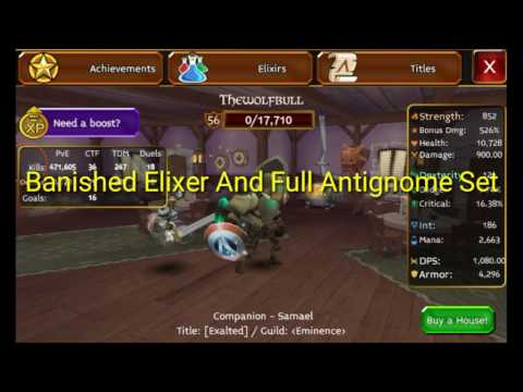 Arcane Legends Full Antignome Set And Banished Elixer