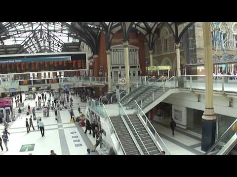 Standing inside Liverpool Street Train Station,  London, UK; 22nd August 2012