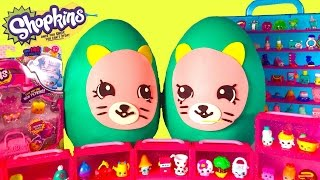 SHOPKINS Season 4 Earring Twins Giant Play Doh Surprise Eggs! Over 30 New Shopkins Blind Bag Opening