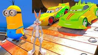 Minions em Português! Pernalonga com Disney Pixar Carros Relâmpago McQueen e Komodo!