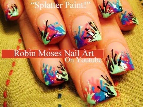 Neon Splatter Paint Nails Easy Paint Splatter Nails