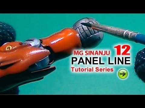 Gundam Panel Line & Panel Wash how to tutorial - MG Sinanju 12. Gunpla Airbrush Painting Tutorial