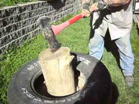 Easy trick for splitting firewood, DYI