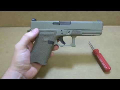 Glock 17 9mm with G-19 Grip Chop. Stippling. Slide Serrations. & FDE Cerakote