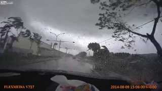 LiveLeak   Car gets Blown Away during by Mini Tornado in Taiwan