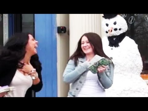 Funny - Girl falls downs Prank Scare w/ Funny Moving Snowman  - Season 2 Episode 4