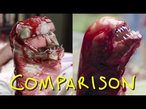 Alien - Chestburster Scene - Homemade with BlackNerdComedy (comparison)