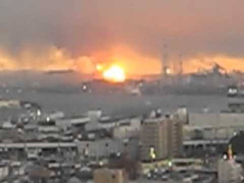 Japan Earthquake - Fire at Chiba Oil Refinery