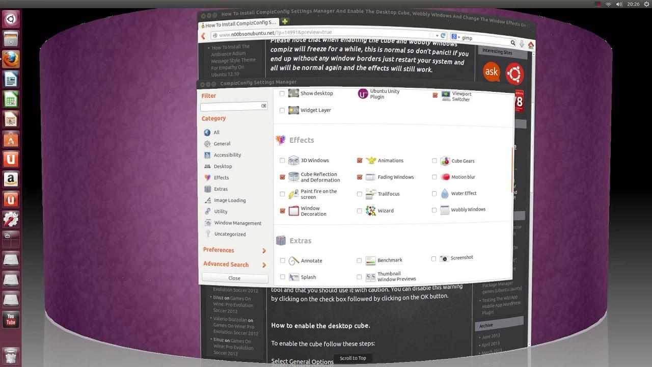 Plugin cube reflection and deformation compiz di ubuntu 804
