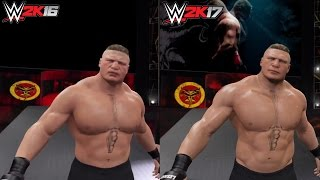WWE 2K17 vs WWE 2K16: Brock Lesnar Entrance Comparison!