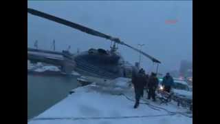 Helicopter makes an emergency landing on walkway due to harsh weather