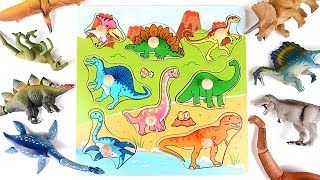 Dinosaurs Wooden Puzzle Sticker Board Transformation Dinosaur Toys~ Learn Names of Dinosaur for Kids