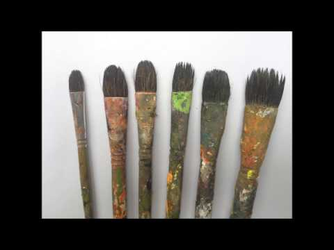 Review of my acrylic brushes & How to paint  simple leaves PART 1
